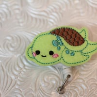 adorable turtle - badge clip - nurse badge pull - name badge holder - ID holder - badge reel - felt badge holder - retractable - nurse
