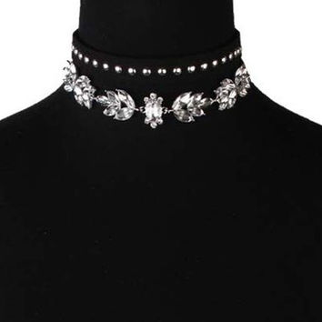 Artificial Crystal Leather Velvet Rivets Chokers