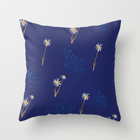 Blue & Yellow Daisy Pattern Throw Pillow by Creative Break