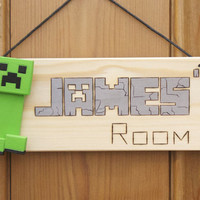 Minecraft Creeper Inspired PERSONALISED Wooden Door Plaque / Sign with 3d Creeper
