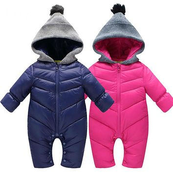 Baby romper autumn winter clothes fashion baby girl clothes solid thickening warm hooded baby boys jumpsuit