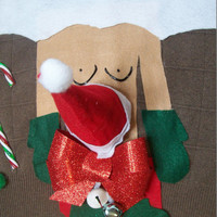 """4xL Ugly Christmas Sweater  Men  Naughty Ho Santa Funny """" with small Bell Balls Vest"""