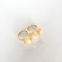 Natural Stone Quartz Double Finger Ring
