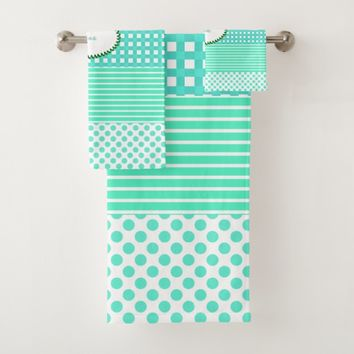 Pastel Turquoise Pattern Mix Bath Towel Set