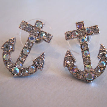 Rhinestone Anchor Earrings - Clear AB Rhinestone Anchor Earrings - Anchor