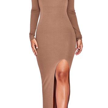 Posh Abilities Brown Long Sleeve Scoop Neck High Slit Bodycon Bandage Maxi Dress