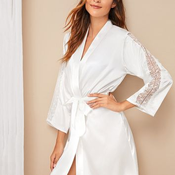 Floral Lace Insert Satin Belted Robe