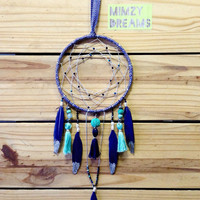 "Tassel Navy & Turquoise 5"" Dream Catcher"