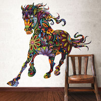 Colorful Floral Horse Wall Sticker Decal