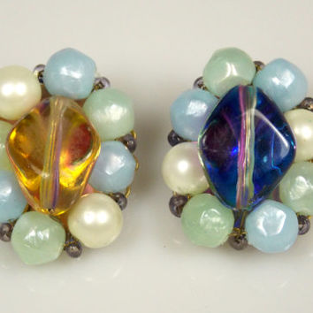 Vintage Marvella Multi Colored Acrylic Jelly Belly Faux Pearl Earrings 1960s