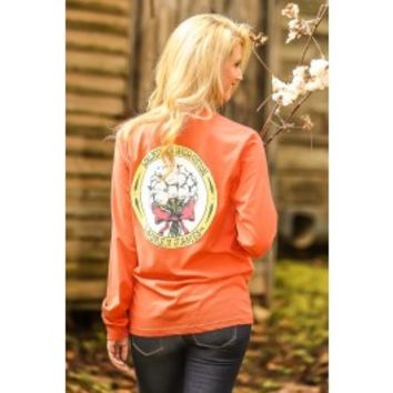 LAUREN JAMES:Walking In High Cotton Long Sleeve T-shirt-Coral
