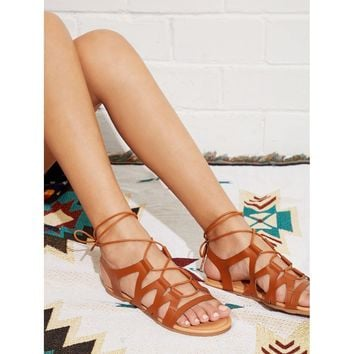 Peep Toe Criss Cross PU Flat Sandals