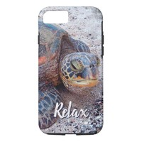"""""""Relax"""" Quote Fun Hawaii Sea Turtle Close-up Photo iPhone 8/7 Case"""