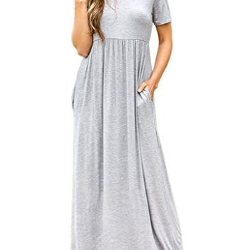 Short Sleeve Loose Plain Long Maxi Casual Dress with Pockets