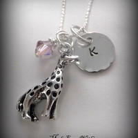 Giraffe Charm Necklace with Initial Charm and Birthstone- Giraffe Necklace- Personalized Children's Jewelry
