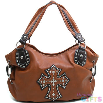 Women's Cross Accented Hobo Bag w/ Rhinestones, Studs, & Croco Trim - Brown Color: Brown