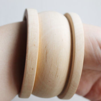 45 mm Wooden bangle unfinished round with outside groove - natural eco friendly FOR45