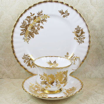 Royal Albert 1960s Golden Rose Gold Gilt Ribbed Teacup and Saucer Set with Matching Dessert Plate