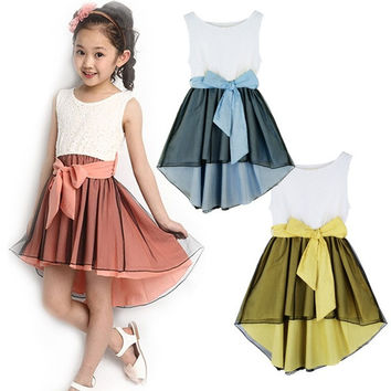 Girls Child Bambini Party Pizzo Abito principessa Gonna Dress Kid baby vestito  D_L = 1712962564