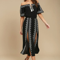 Ready, Set, Vacation Black Embroidered Off-the-Shoulder Jumpsuit