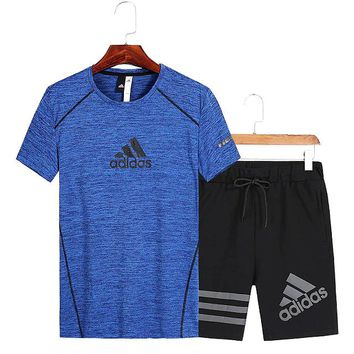 Adidas short-sleeved suit men's summer t-shirt round neck quick-drying shorts fitness running sports suit blue