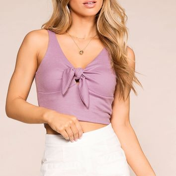 A Little Sunshine Lavender Crop Top