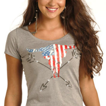 Rock & Roll Cowgirl Women's Grey Americana Steer Graphic Tee