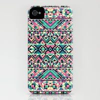 Pink Turquoise Girly Aztec Andes Tribal Pattern iPhone & iPod Case by Railton Road