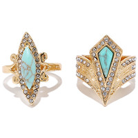 Throne of My Own Gold and Turquoise Ring Set