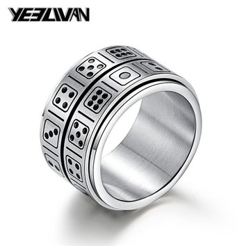 Fashion Punk Titanium Steel Spinner Ring Men Creative Two Layers of Rotation Dice Finger Rings for Women Entertainment Jewelry