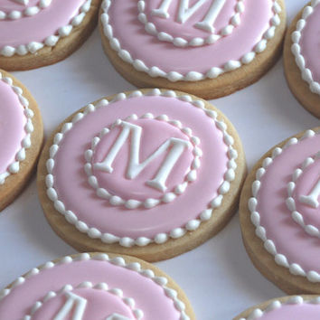 Elengant Pink & White Monogram Cookies - One Dozen Decorated Sugar Cookies