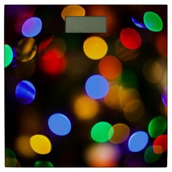 Multicolored Christmas lights. Bathroom Scale