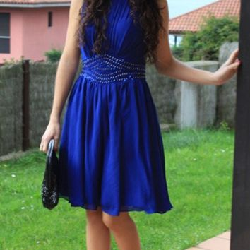 Elegant Homecoming Dress,  Royal Blue  Scoop Neck Chiffon Homecoming Dresses with Beadings, Short Prom Dresses