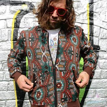 Urban Fox Brown - Bomber Jacket With Crazy Aztec Patterns