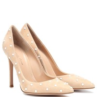 Reine embellished suede pumps