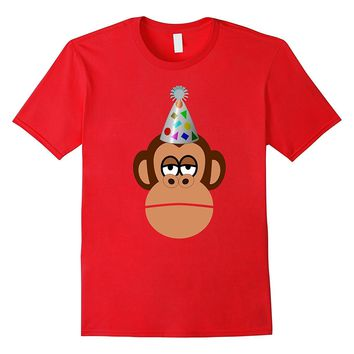 Birthday monkey in party hat t-shirt