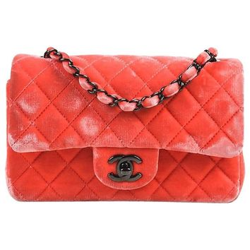 """Chanel Coral Pink Velvet & Leather Quilted Crossbody """"Classic New Mini"""" Bag"""