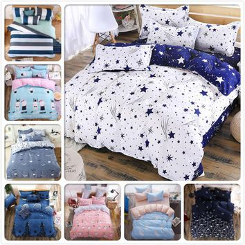 AB Side 3D Star Galaxy Blue White 4pcs Bedding Set Queen Twin Single Size 1.5m 1.8m 2.0m 2.2m Bed Sheet Duvet Cover Home Textile