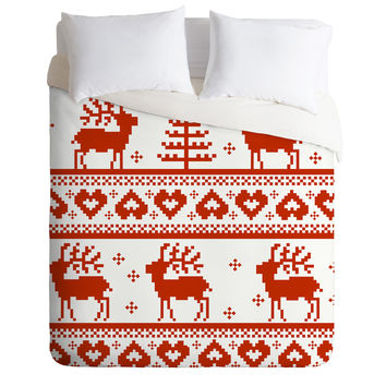 Natt Knitting Red Deer Duvet Cover