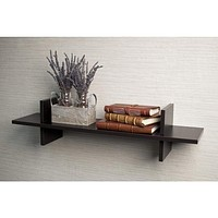 """Contemporary Wooden """"H"""" Shaped  Wall Shelf with Spacious Display, Espresso Brown By DanayB"""