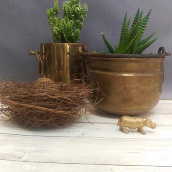 Brass Cauldron/ Cauldron/ Witches Cauldron/ Small Cauldron/ Brass Planter/ Brass Pot with Handle/ Brass Hanging Planter/ Rustic Planter