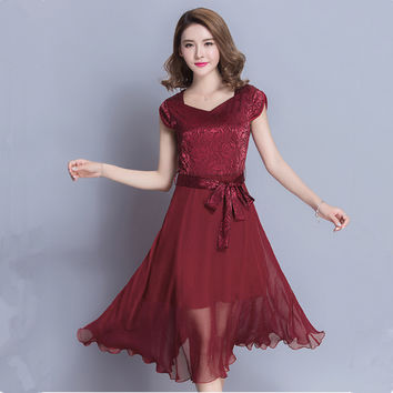 NRH1079J#The new summer 2017 women dresses wine red mulberry silk large size simple giant swing long prom party evening dress