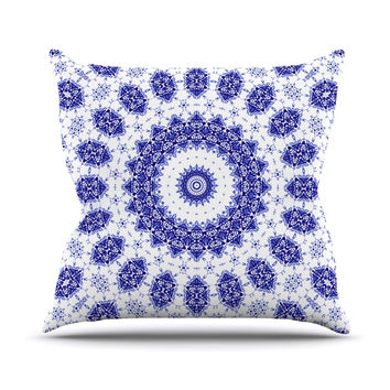 "Iris Lehnhardt ""M2"" Blue White Throw Pillow"