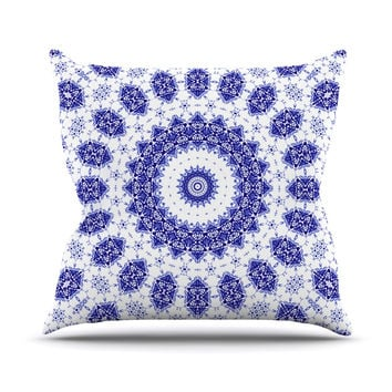 "Iris Lehnhardt ""M2"" Blue White Outdoor Throw Pillow"