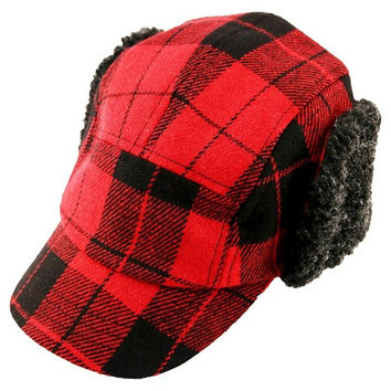 Cat & Jack Infant or Toddler Boys Red/Blk Plaid Flannel Winter Trapper Hat