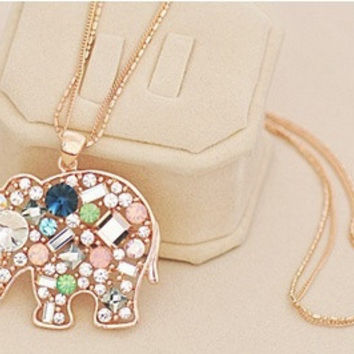 Satr Jewelry Korean Fashion Jewelry For Women New Crystal Lucky Lovely Elephant Necklace Pednat Necklase Long Chain = 1946092036
