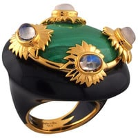 Conch Malachite & Black Ring, Stone & Novelty Rings