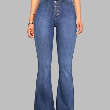 New Light Blue Buttons Pockets Vintage Bell-bottoms High Waisted Casual Long Jeans