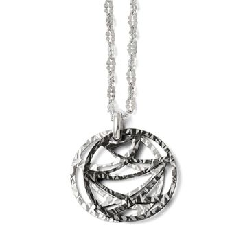 Two Tone Double Abstract Circle Necklace in Sterling Silver, 18-20 in