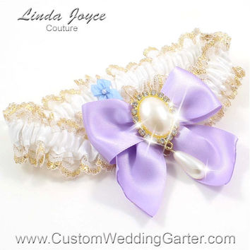 White and Lavender WEDDING GARTER Gold Bridal Lace Garter 112 White 430 Lavender Purple Prom Garter Plus Size & Queen Size Available too